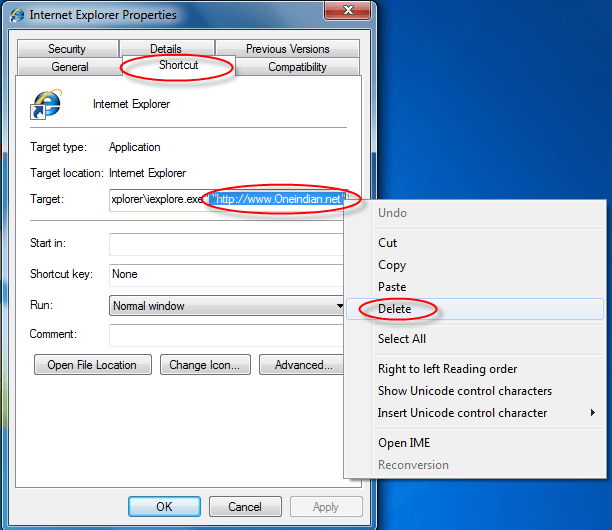 Oneindian.net-shortcut-removal-guide