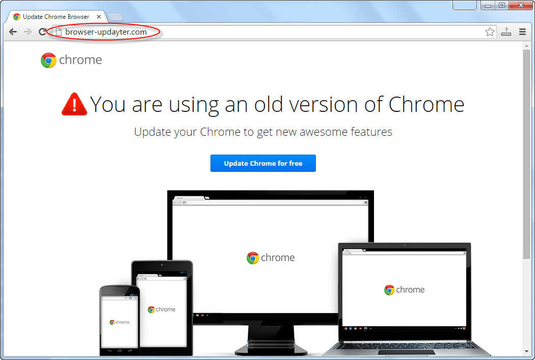 Browser-updayter.com Google Chrome webpage popup Image
