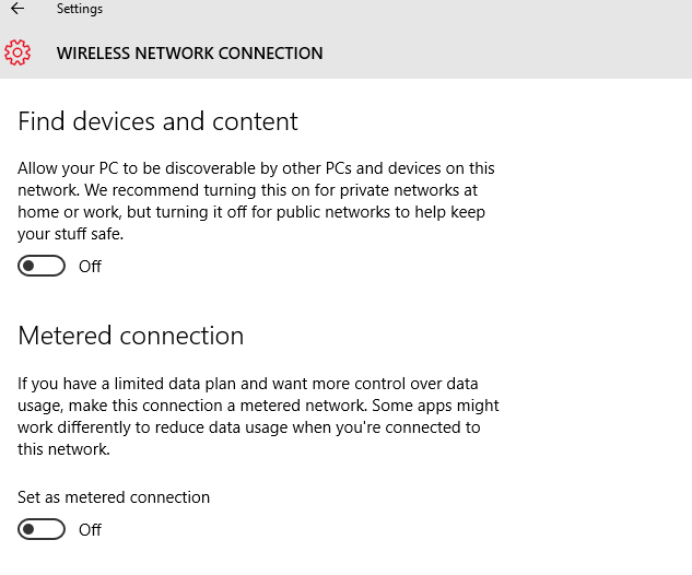 Disable Windows Updates by setting internet connection as metered