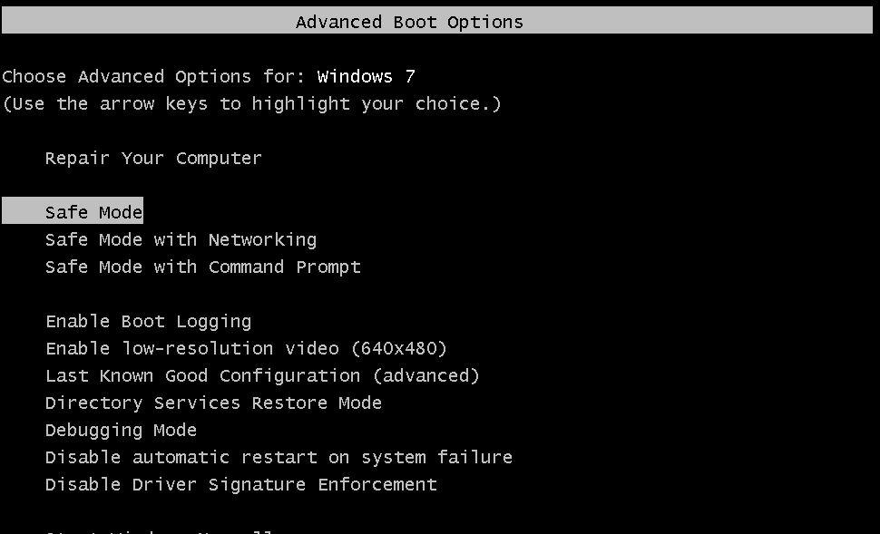 Safe Mode boot option