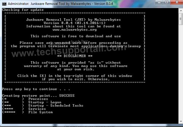 Junkware Removal Tool by malwarebytes