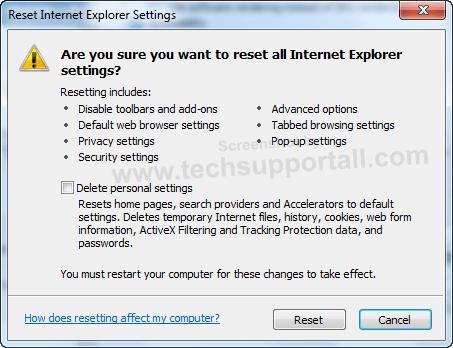 Internet Explorer Reset Step 3