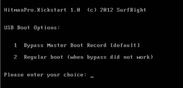 Hitman Pro Kickstart Boot menu