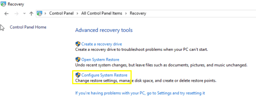 Configure System Restore Windows 10