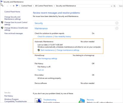 Automatic maintenance Windows 10