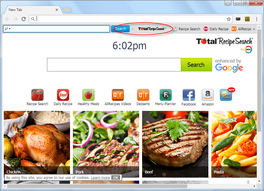 TotalRecipeSearch Homepage Toolbar Image