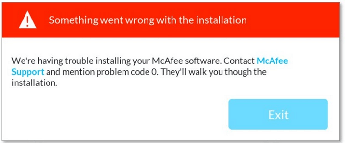 mcafee uninstall error message