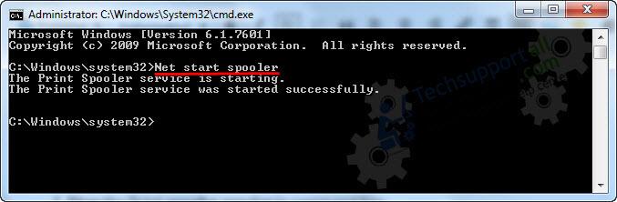start spooler through CMD