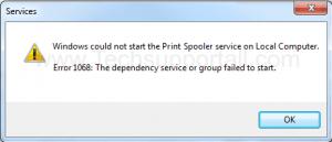 Spooler error 1068