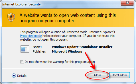 allow to upgrade ie