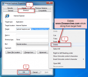 Dosearches.com removal guide from windows shortcuts-2