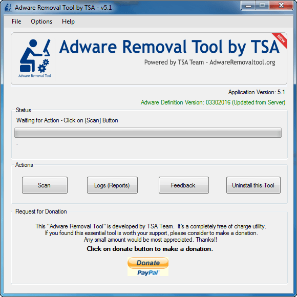 Adware Removal Tool by TSA 5.1 Screenshot