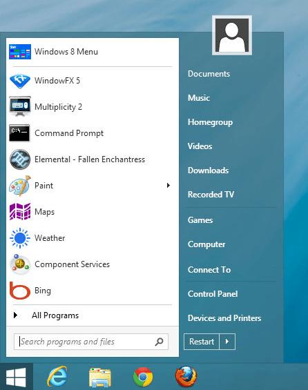 Viable menu windows8
