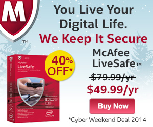 McAfee Live Safe Cyber Weekend Sale - 40% Off