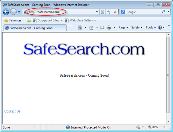 SafeSearch.com homepage Image