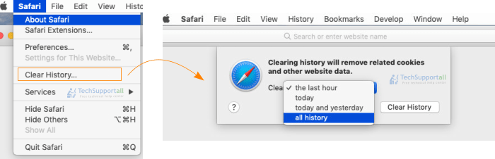 How to clear history in Safari