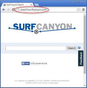 Search.surfcanyon.com Homepage Image