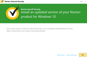 Norton Patch Windows 10 Upgrade compatibility