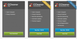 CC Cleaner versions