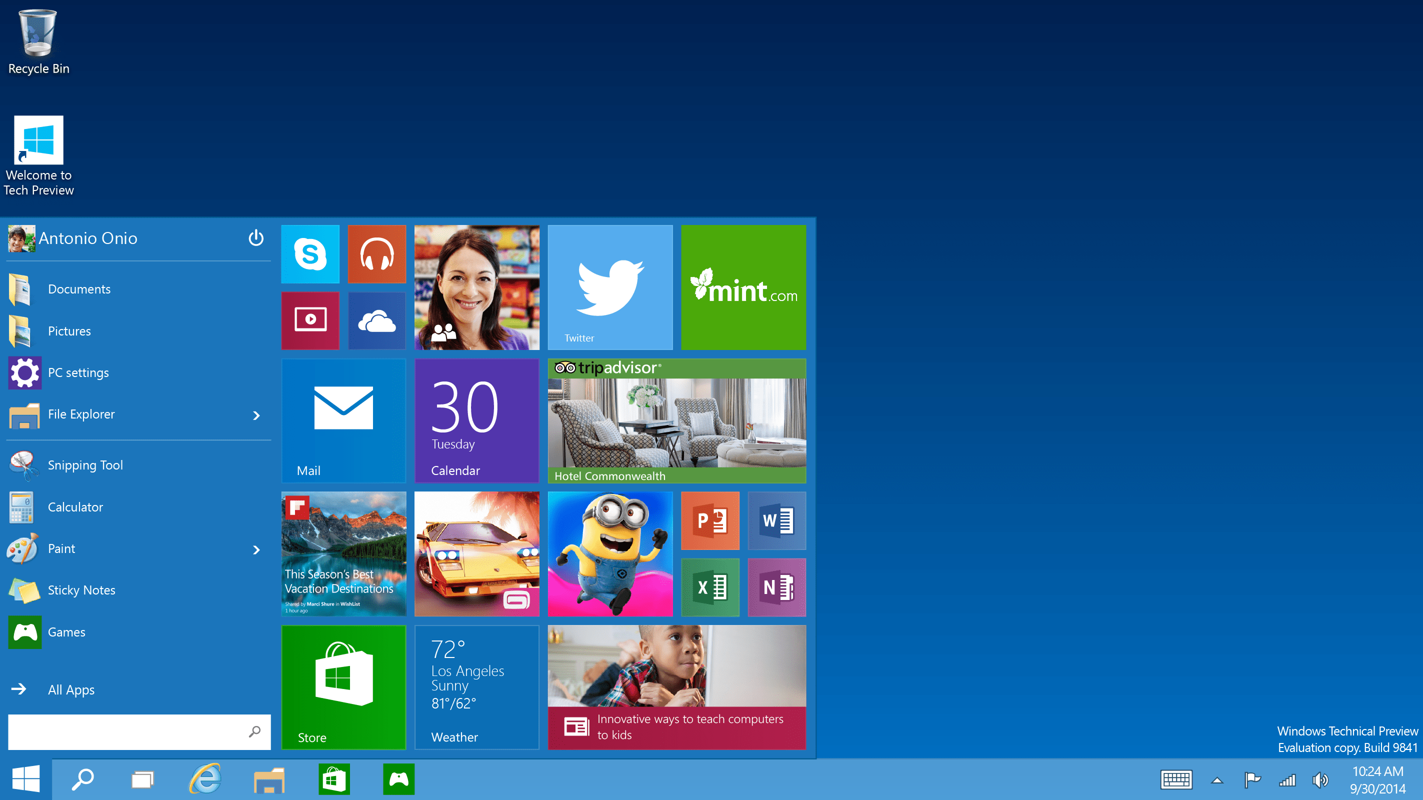 Windows 10 Desktop with Taskbar
