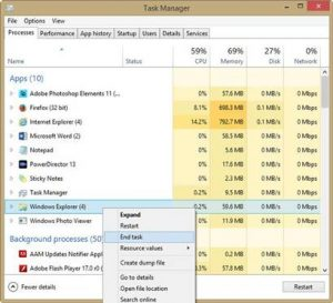 Task manager to end program which locked the file