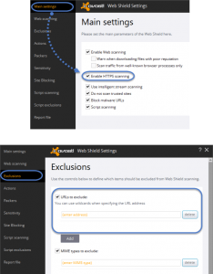 Avast Customize Web shield Exclusion for HTTPS