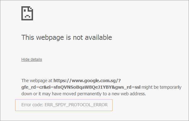 Chrome Error Code ERR_SPDY_PROTOCOL_ERROR