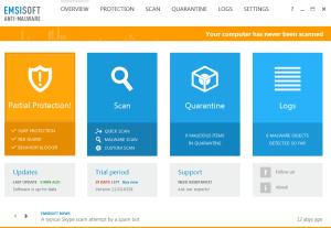 Emsisifot Antimalware Home Screen