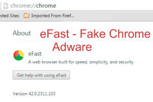 eFast - Fake chrome browser adware