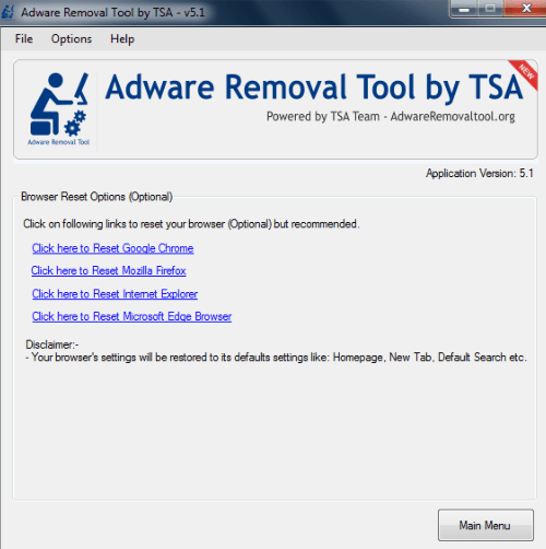Reset browser option in Adware Removal Tool