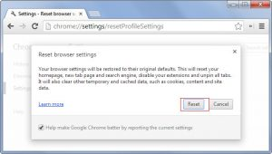 Chrome Browser Reset Confirmation