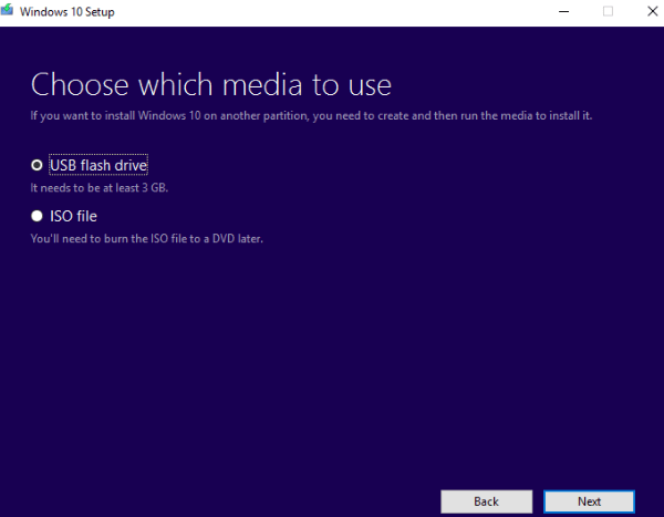 Create bootable USB drive using Media creation tool