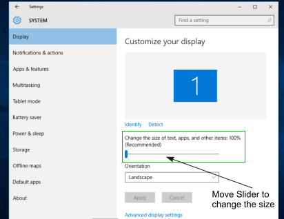 How to change Icon Size and Text Size in Windows 10