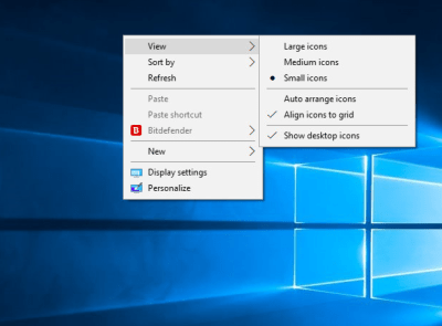 Change Desktop icon Size in Windows 10