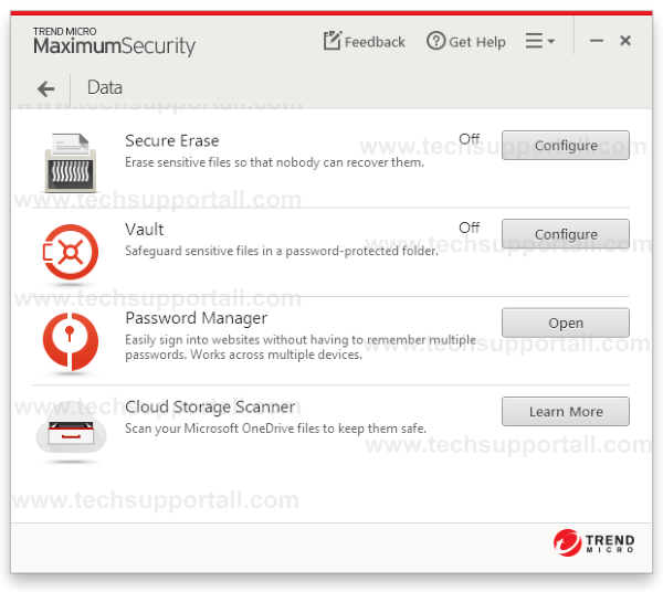 Trend Micro data protection Settings