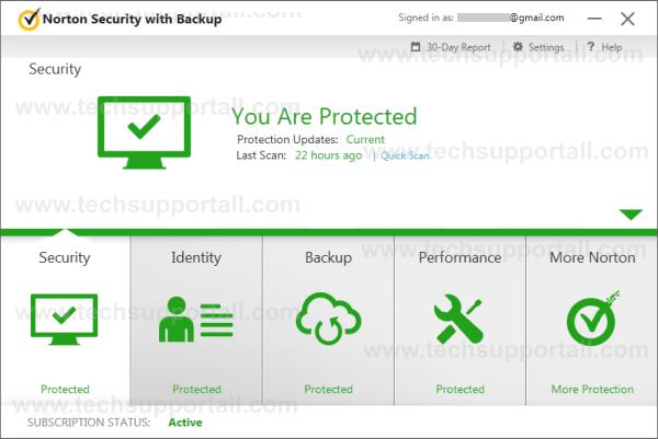 Norton Security Home Screen and Norton Coupon Codes