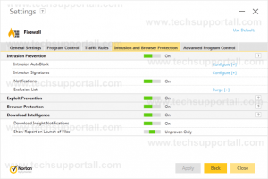 Norton Browser Protection Settings