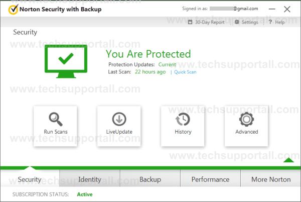 Norton Security tab