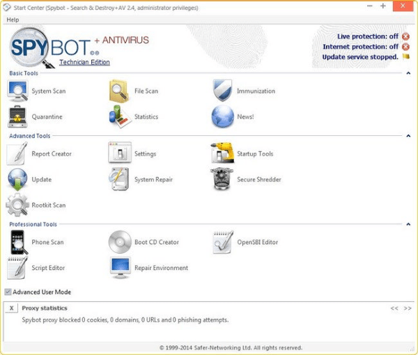 Spybot Search & Destroy tool for windows