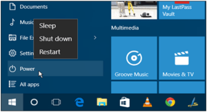 Power Button to shutdown restart sleep windows 10