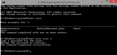 Reset Forgotten Windows 10 password using Command Prompt
