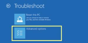 Windows 10 troubleshoot options