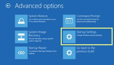 Advanced options to troubleshoot windows 10