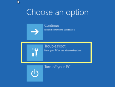 Choose option in windows 10 restart