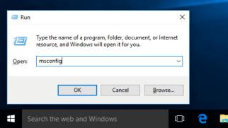 Run MS Config in Windows 10
