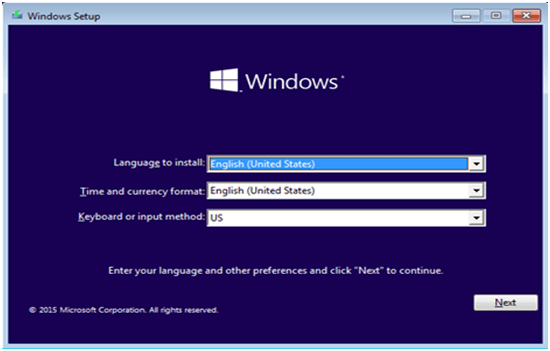 Windows 10 Installation Setup Screen