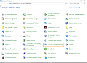 Windows 10 Control panel Security and maintenance
