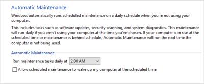 Change Automatic maintenance Settings