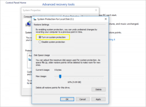 Turn on System Protection windows 10