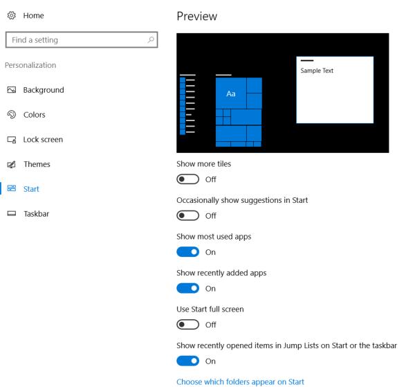 Start menu personalization settings Start